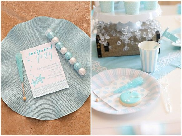 mermaid party invitation and supplies