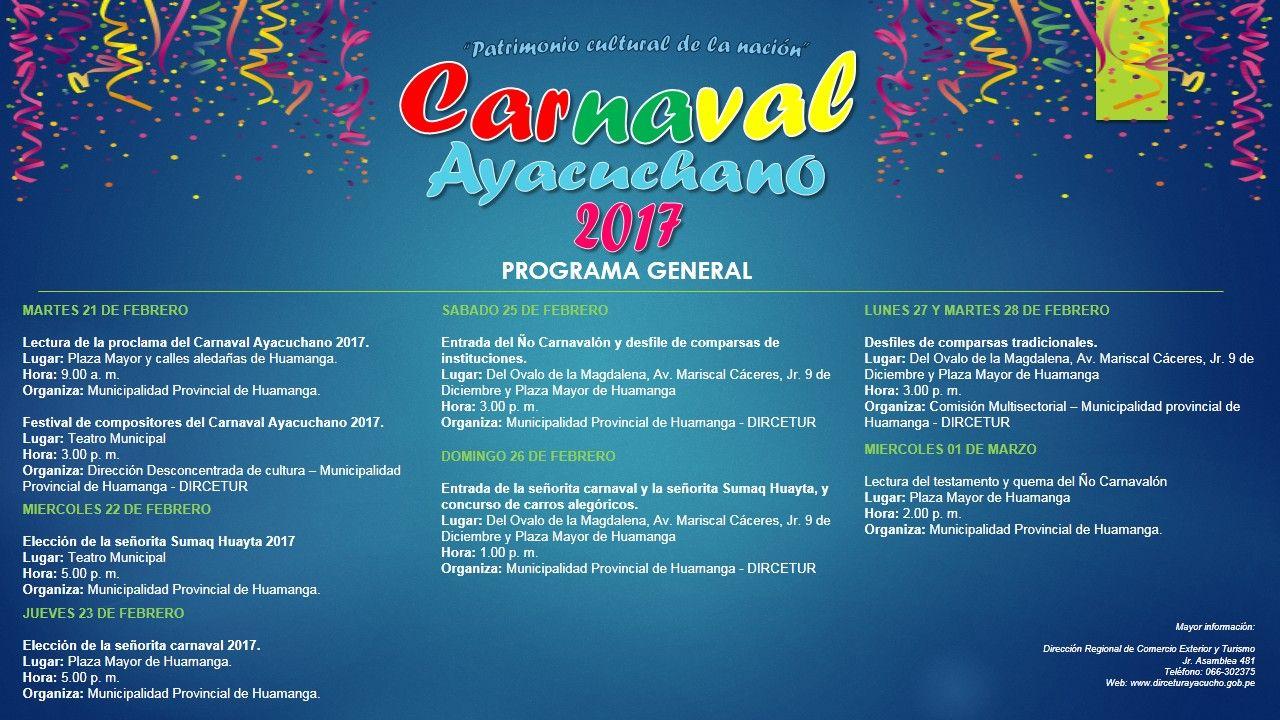 Programa oficial Carnaval Ayacuchano