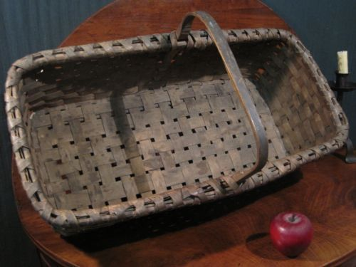 """Antique 1800's Early New England Garden Woven Splint Basket """"Best Patina"""" For Sale North Bayshore Antiques...~♥~"""