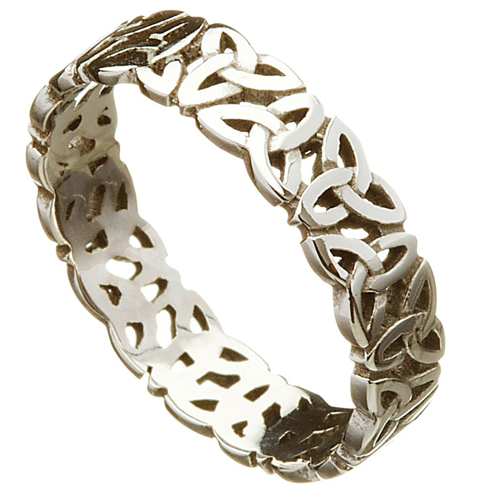 Irish Wedding Ring - Celtic Trinity Love Knot Mens Wedding Band ...