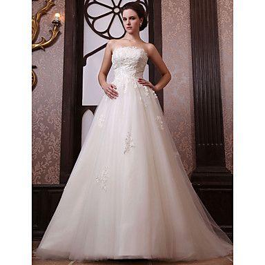 0f9023523f5 A-line Strapless Chapel Train Tulle Satin Wedding Dress – USD   449.99