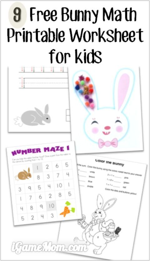 9 Free Bunny Math Printable Worksheets for Kids | Fun math ...