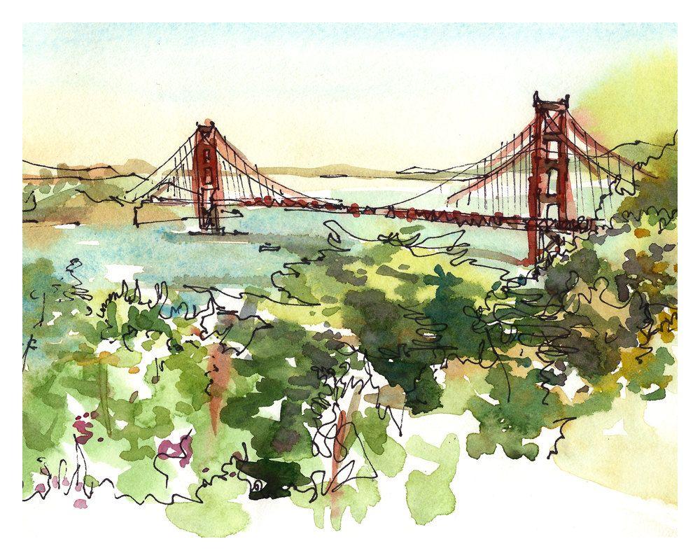 Golden Gate Bridge, San Francisco, print from a watercolor sketch ...