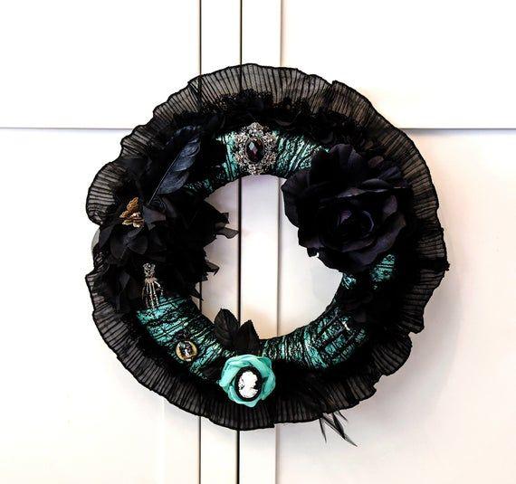 Photo of Gothic Wreath, Gothic Home Decor, Green Gothic Wreath, Gothic Door Hanger, Gothic Rose Wreath, Gothi