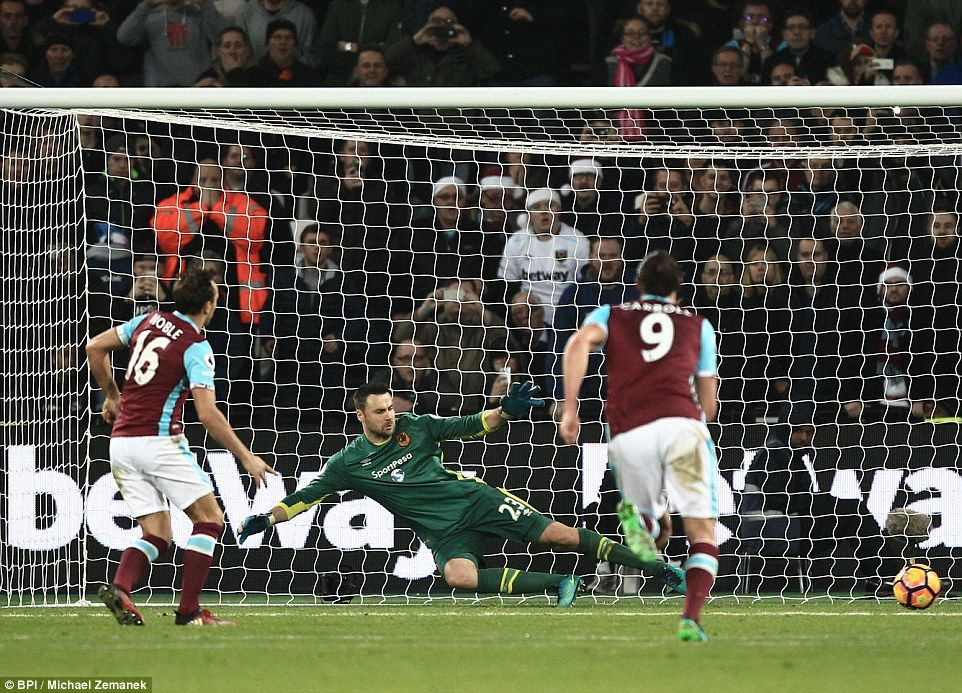 West Ham 10 Hull City Noble's penalty kick gives hosts