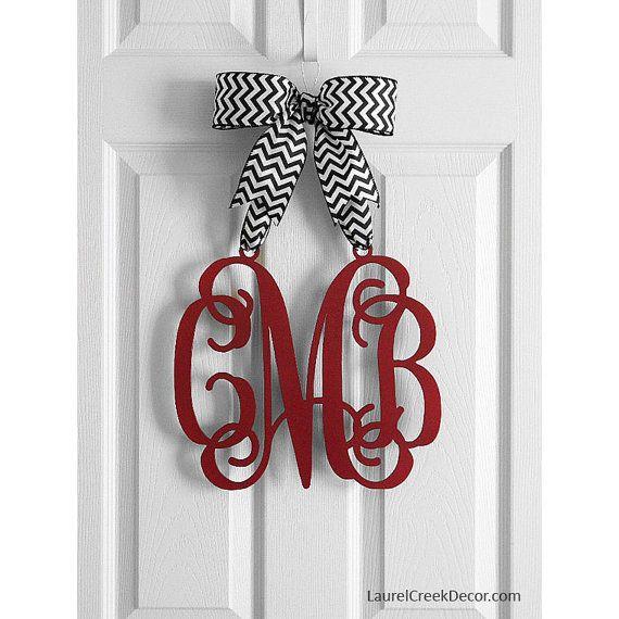 Red Valentine Decor Monogram Door Hanger Hanging Monogram
