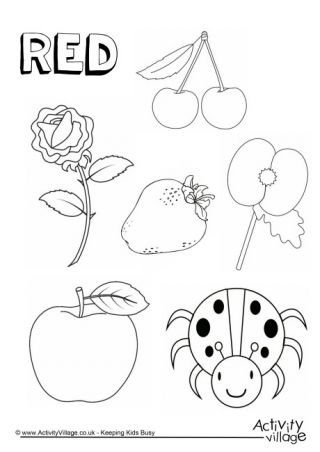 Red Things Colouring Page Color Red Activities Preschool