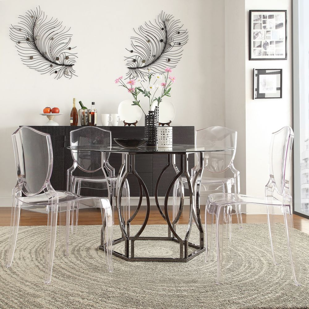 Dining Table Set Deals: INSPIRE Q Concord Black Nickel Plated Round Glass Dining