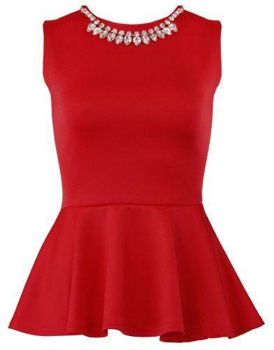 454058431f24 The Orange Tags Womens Sleeveless Bodycon Skater Top Dress Ladies Necklace  Peplum Party Top The Orange