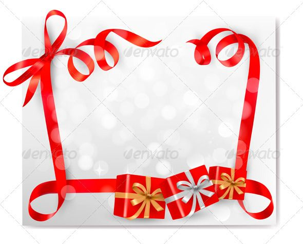 Christmas background with red gift ribbons gift ribbon gradient christmas background with red gift ribbons graphicriver christmas background with red gift bow with gift negle Image collections