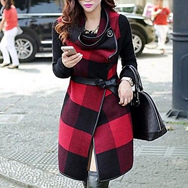 Women's Checked Tweed Trench Coat(More Colors) - USD $ 89.97