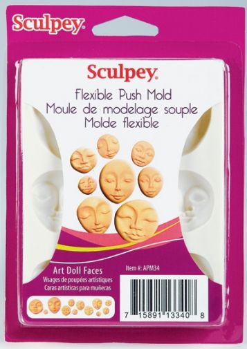 Craft Soap New Sculpey ART DOLL FACE Push Mold for Wax Plaster Polymer Clay