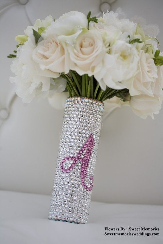 Bouquet Handle Holder - Swarovski Crystal Bouquet Handle With Custom ...