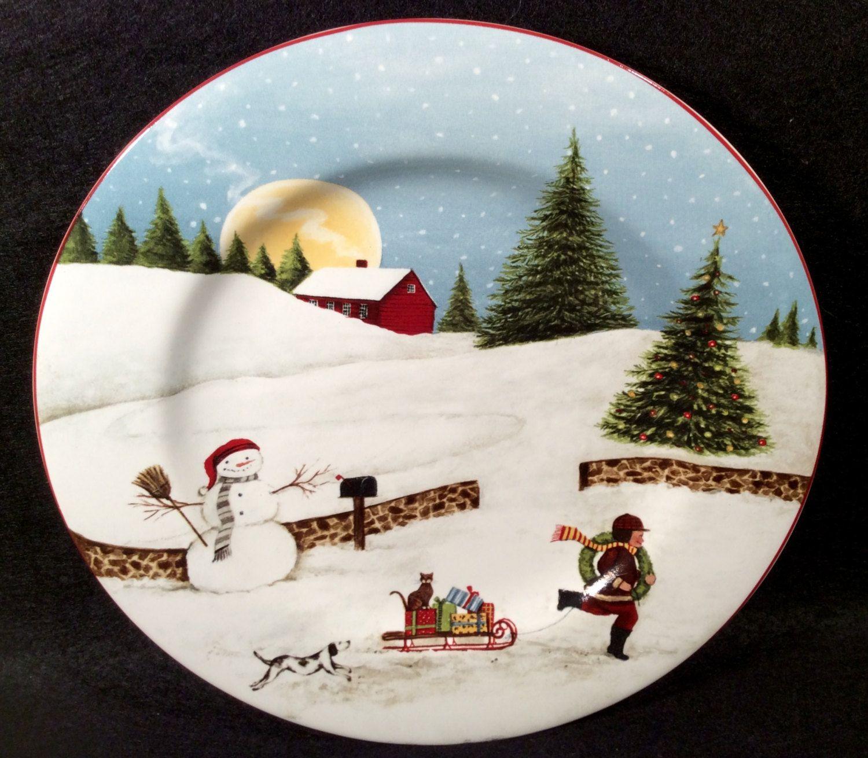 Sakura CHRISTMAS VALLEY Salad Plate Ref A Village Scene Dinnerware ...