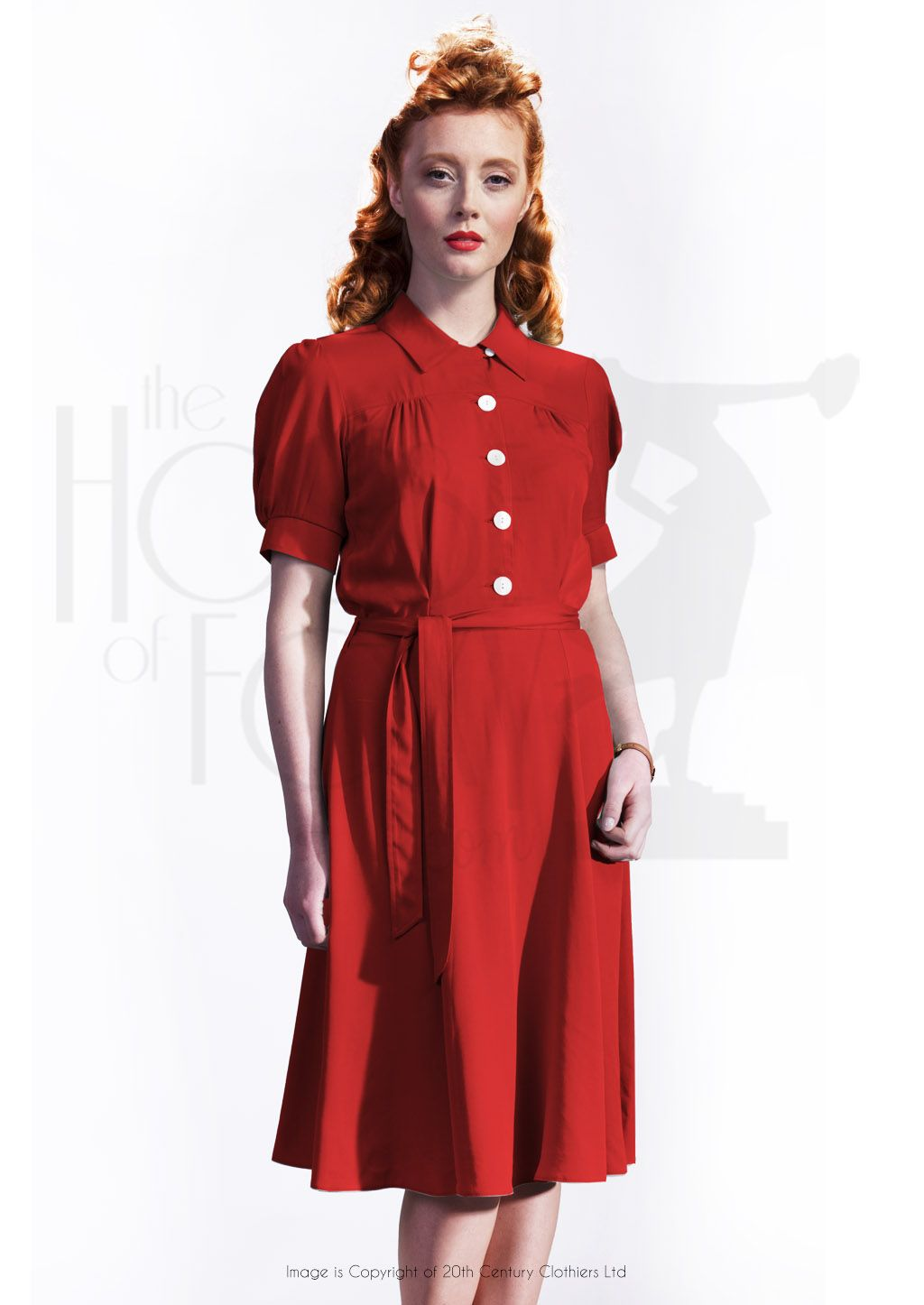 1940s Style Shirt Waister Dress In Red 1940s Fashion 1940s Fashion Dresses Dresses [ 1446 x 1024 Pixel ]