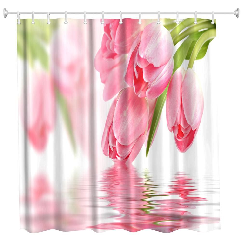 Tulip In Water Water Proof Polyester 3d Printing Bathroom Shower