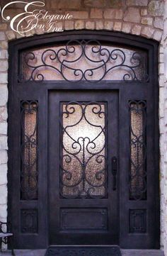 Custom Wrought Iron Door With Sidelights And A Full Arch Transom .