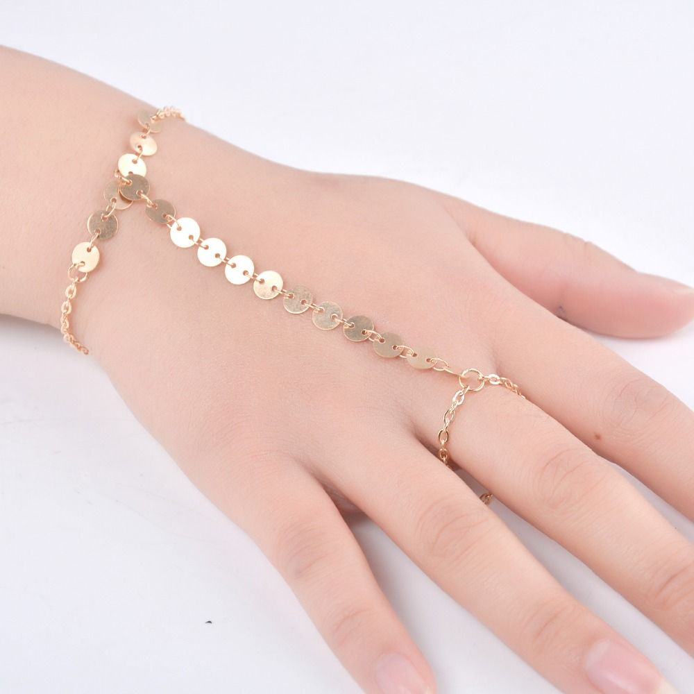 Handmade european style golden color copper sequins hand finger