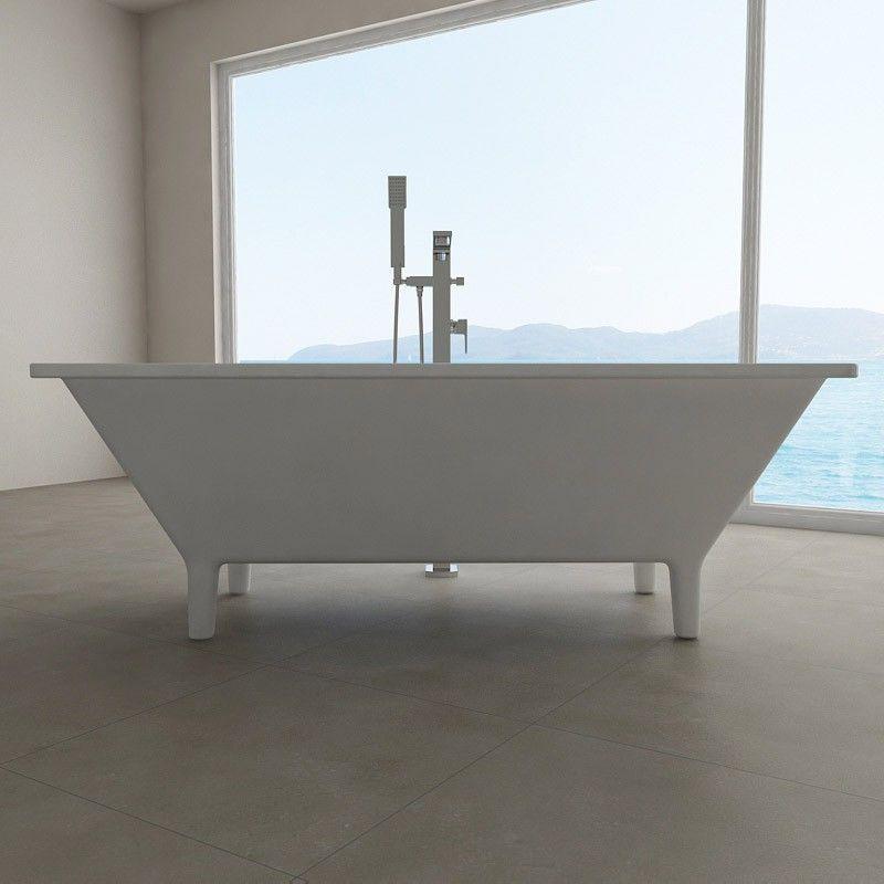 Baignoire Ilot Rectangulaire 168x75 Cm Acrylique Keros Baignoire Rectangulaire Baignoire Idee Salle De Bain