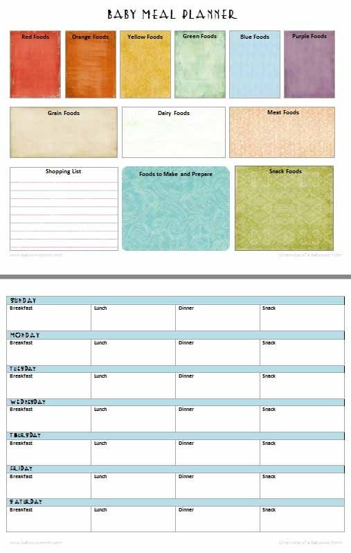 Baby Meal Planner Free Printable Babywise Mom Baby Food Recipes Meal Planner Baby Meal Plan