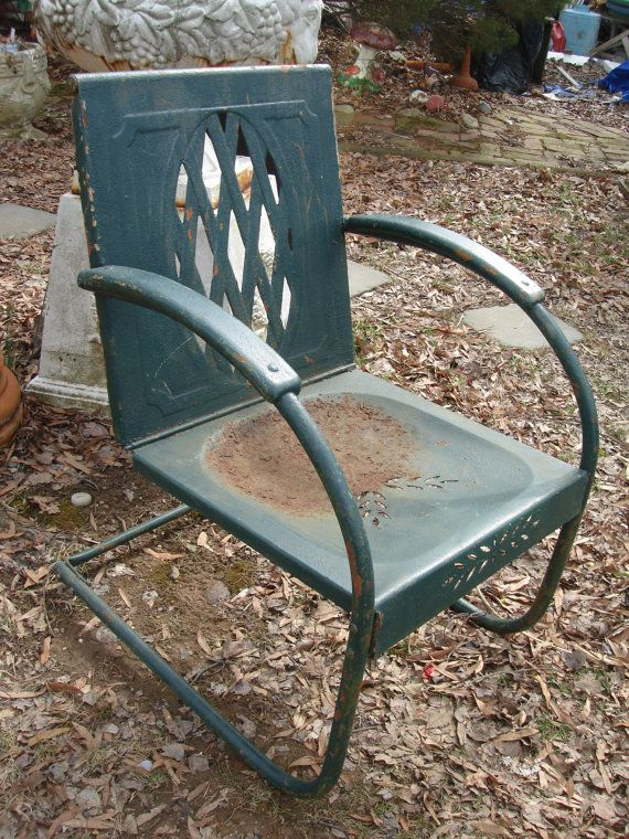 old fashioned metal lawn chairs cheap fold up sale antique chair garden by funknjunkinc