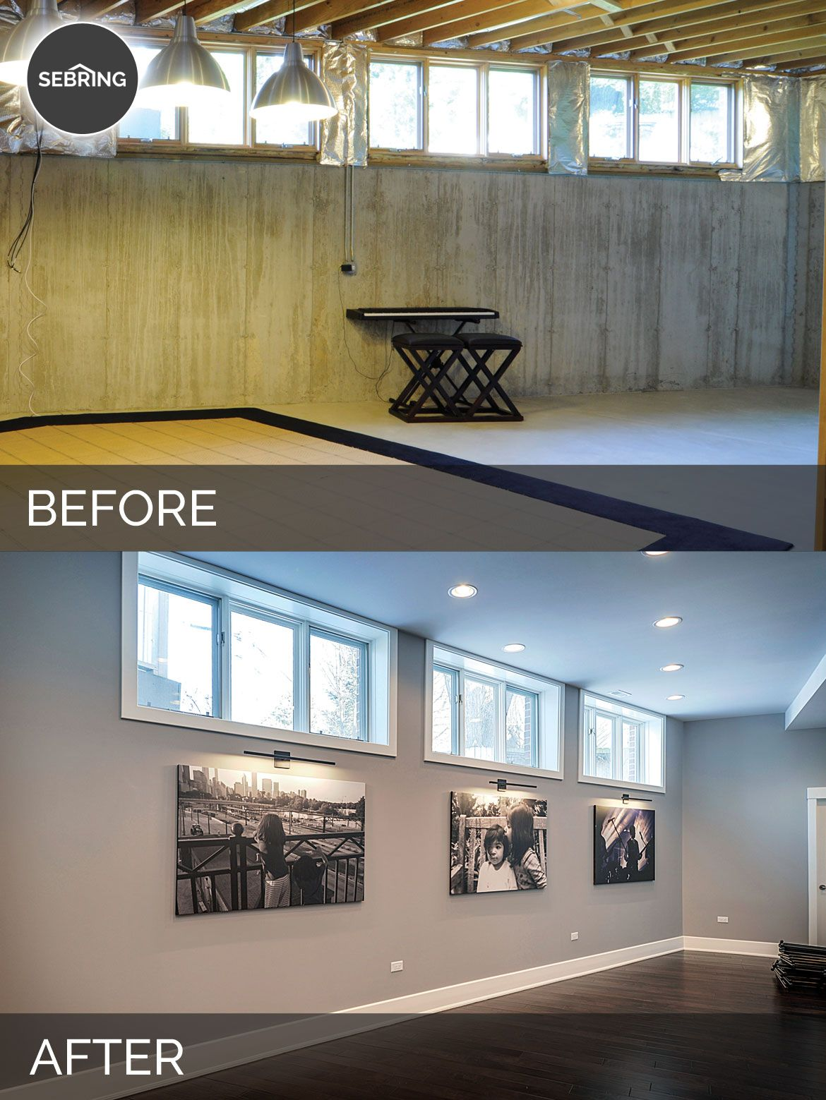 Basement Remodeling Designs Painting before & wheaton basement naperville - sebring design build
