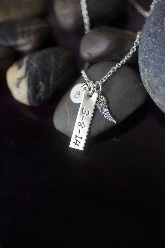Personalized date pregnancy loss handstamped necklace by DistinctlyIvy on Etsy.  This handstamped necklace is a beautiful memorial gift.     ✤