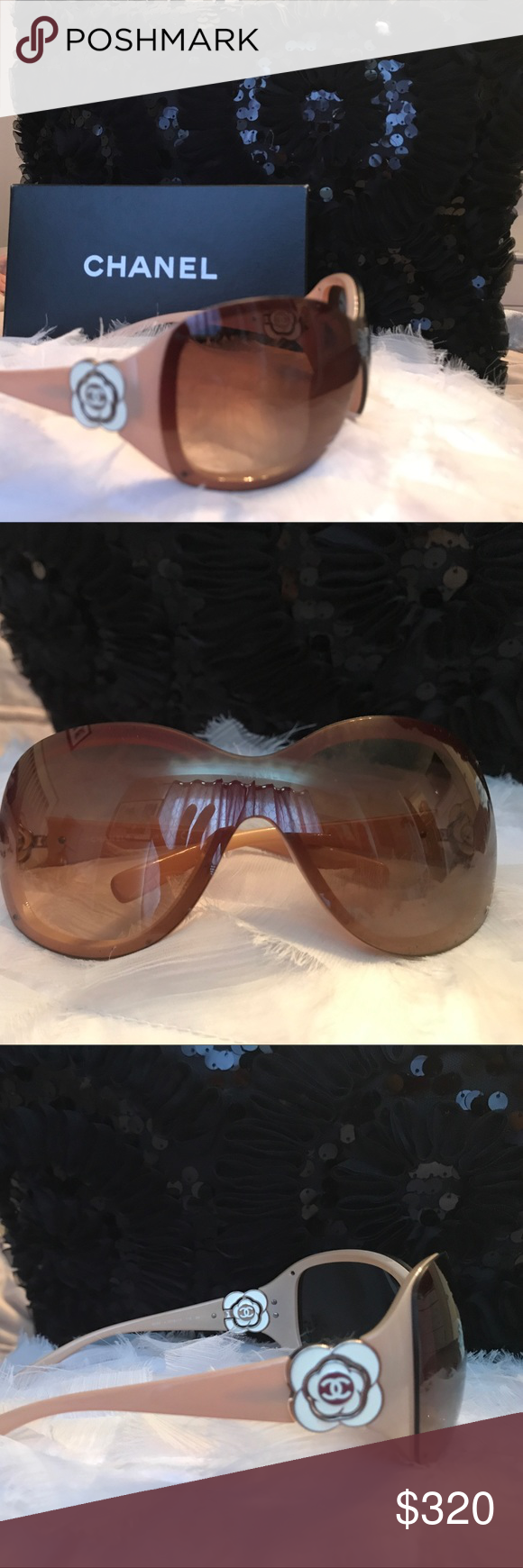 2ec7a9ef6d Authentic CHANEL🌸Camellia Flower Sunglasses Beautiful Chanel oversized  shield lenses