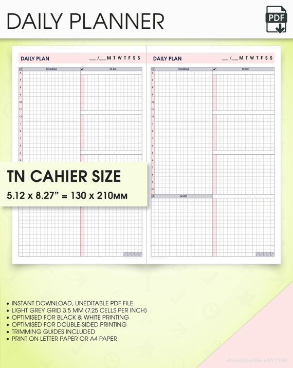 Daily Midori Insert Tn Inserts Undated Planner Printable Daily