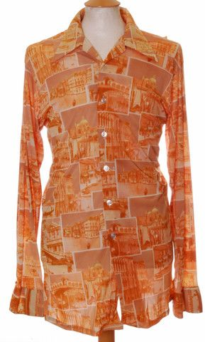Vintage 1970s Tall Redwood Scenic disco shirt - Large #EasyPin