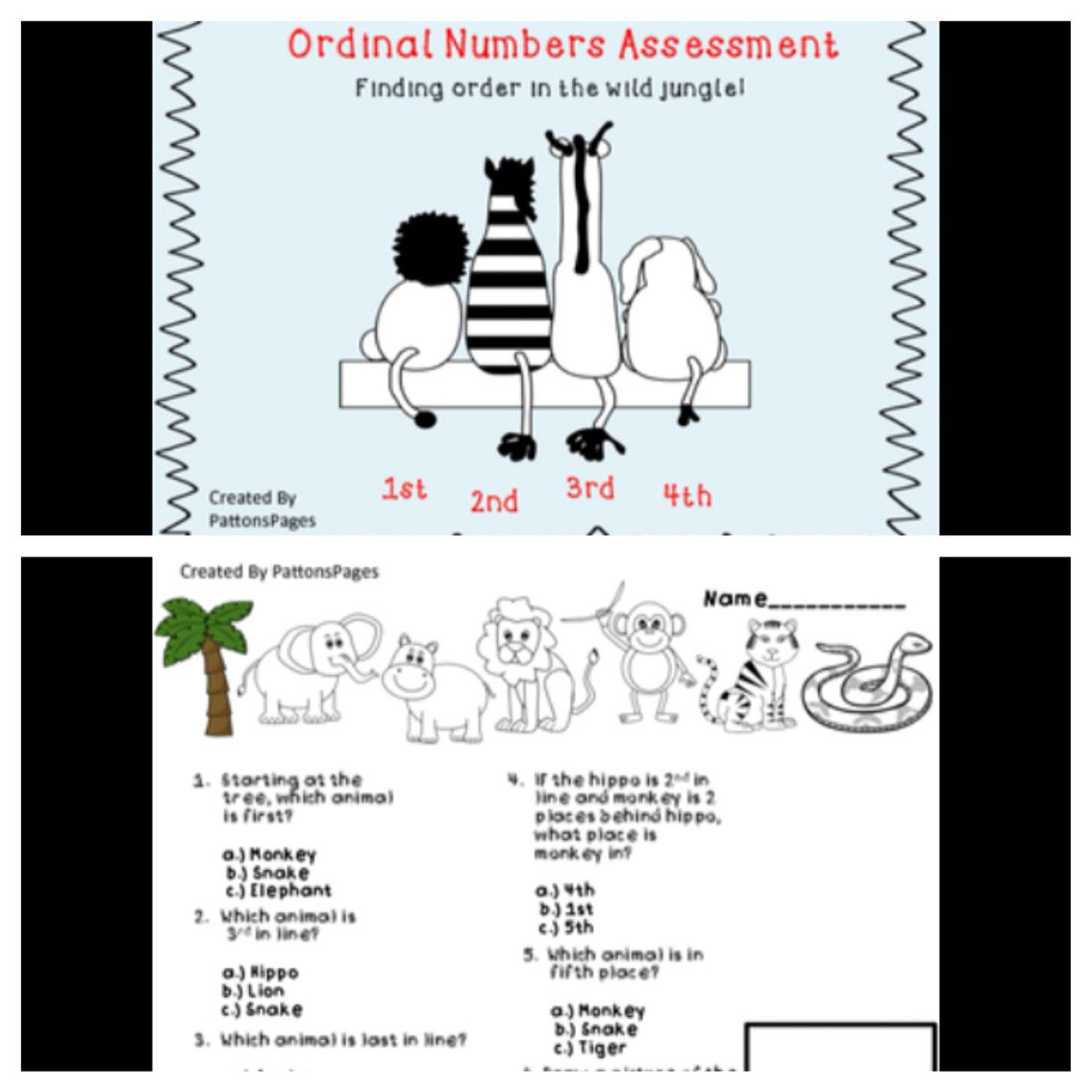 Ordinal Numbers Assessment S