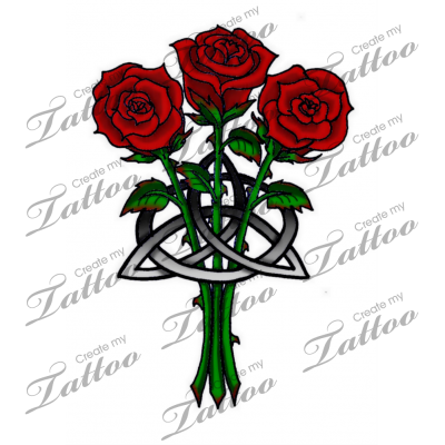 Marketplace Tattoo Roses And Celtic Knot 17836 Createmytattoo Com Rose Tattoos Scottish Tattoos Shamrock Tattoos