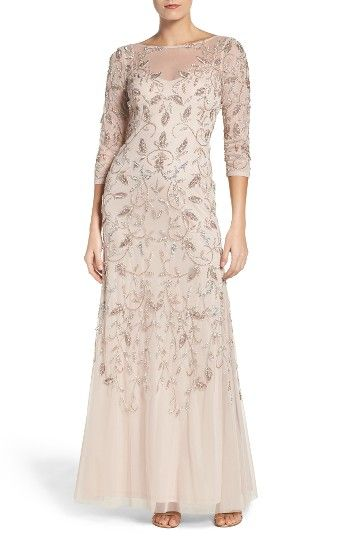 Free shipping and returns on Adrianna Papell Beaded A-Line Gown (Regular & Petite) at Nordstrom.com. Soft color enriches the detailed sparkle embroidered throughout this wispy mesh gown.