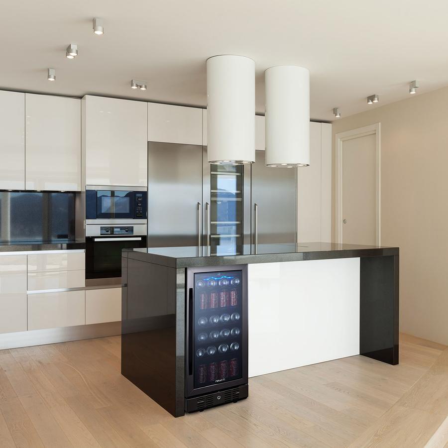 kitchenaid black stainless beverage fridge