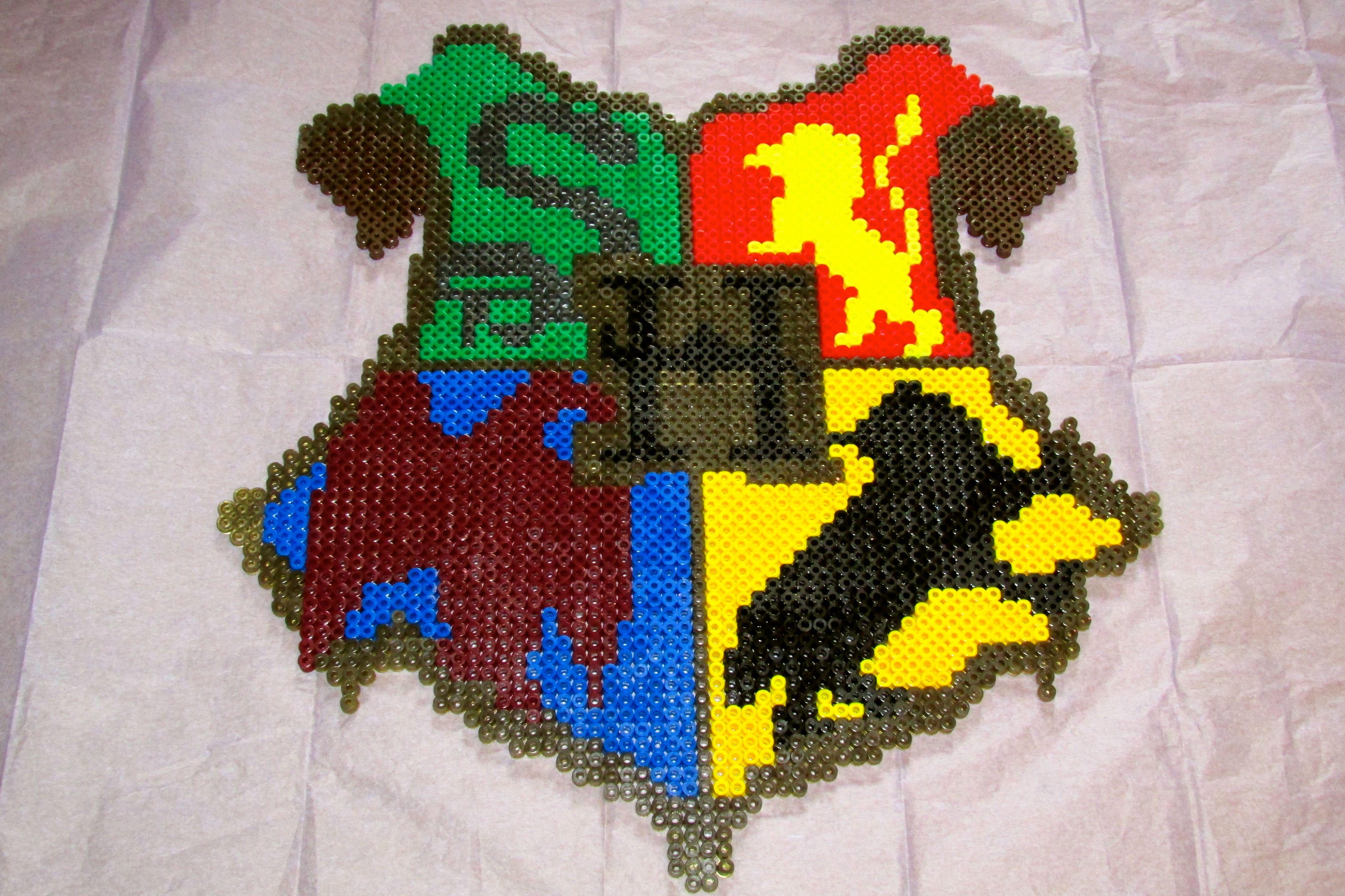 Harry Potter Hogwarts Crest Hama perler beads by Keely Jade   Harry ...