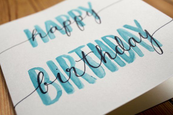 Birthday Card Happy Birthday Watercolor Kalligraphie