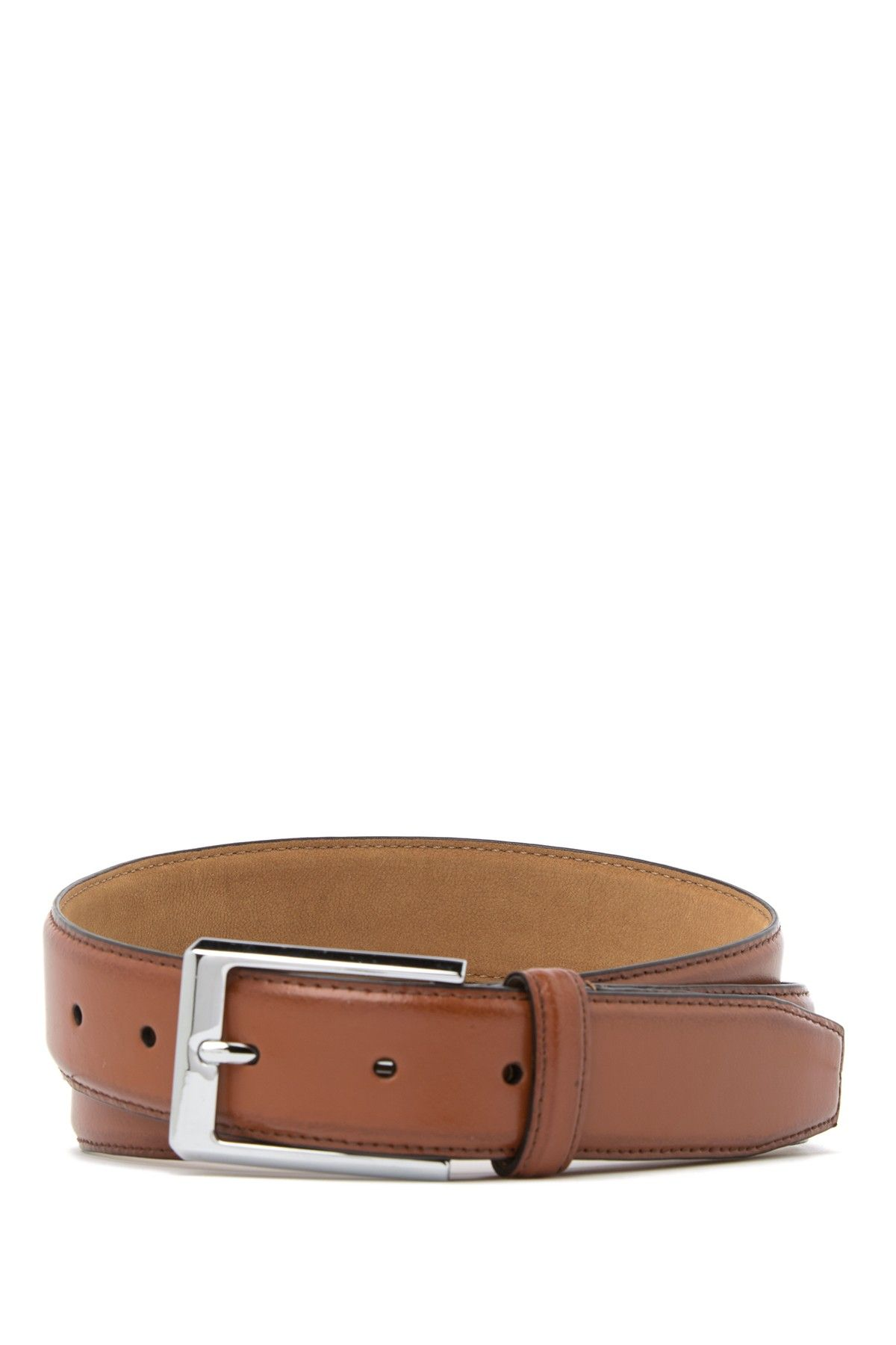 COLE HAAN MEN'S BELT FEATHERED EDGE LEATHER BELT IN TAN NEW W//TAGS