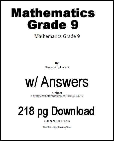9th Grade Math Textbook (download) @ http://www ...