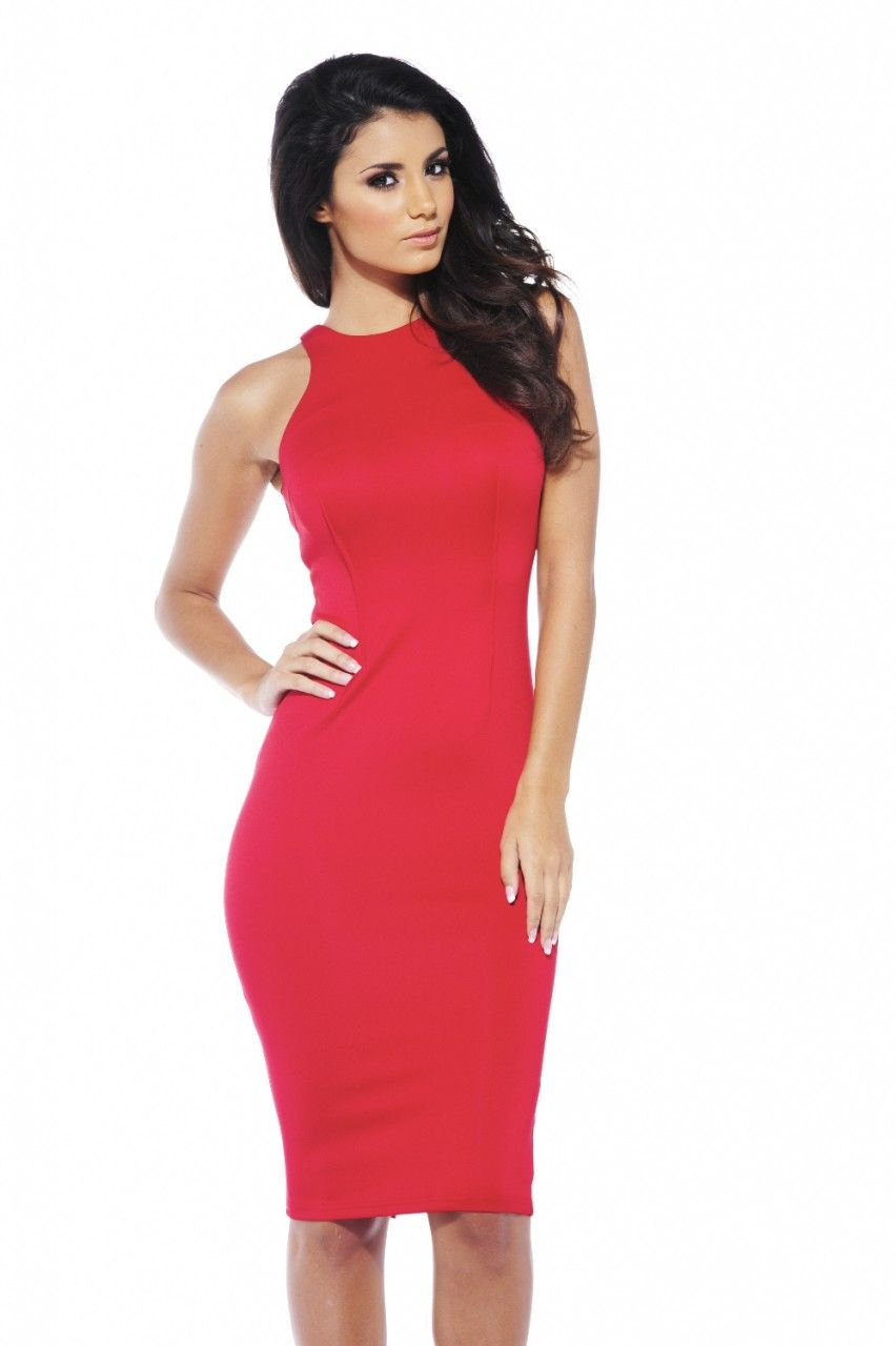 6914eaba8f4 Women s Cut In Neck Midi Red Dress - AX Paris USA-Fashion Dresses ...