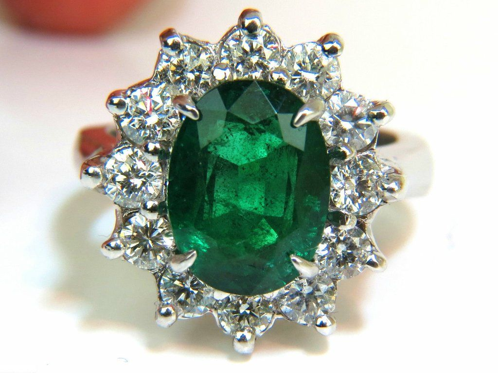 6.10CT NATURAL FINE GREEN EMERALD DIAMOND RING 14KT CLASSIC DIANA PRIME