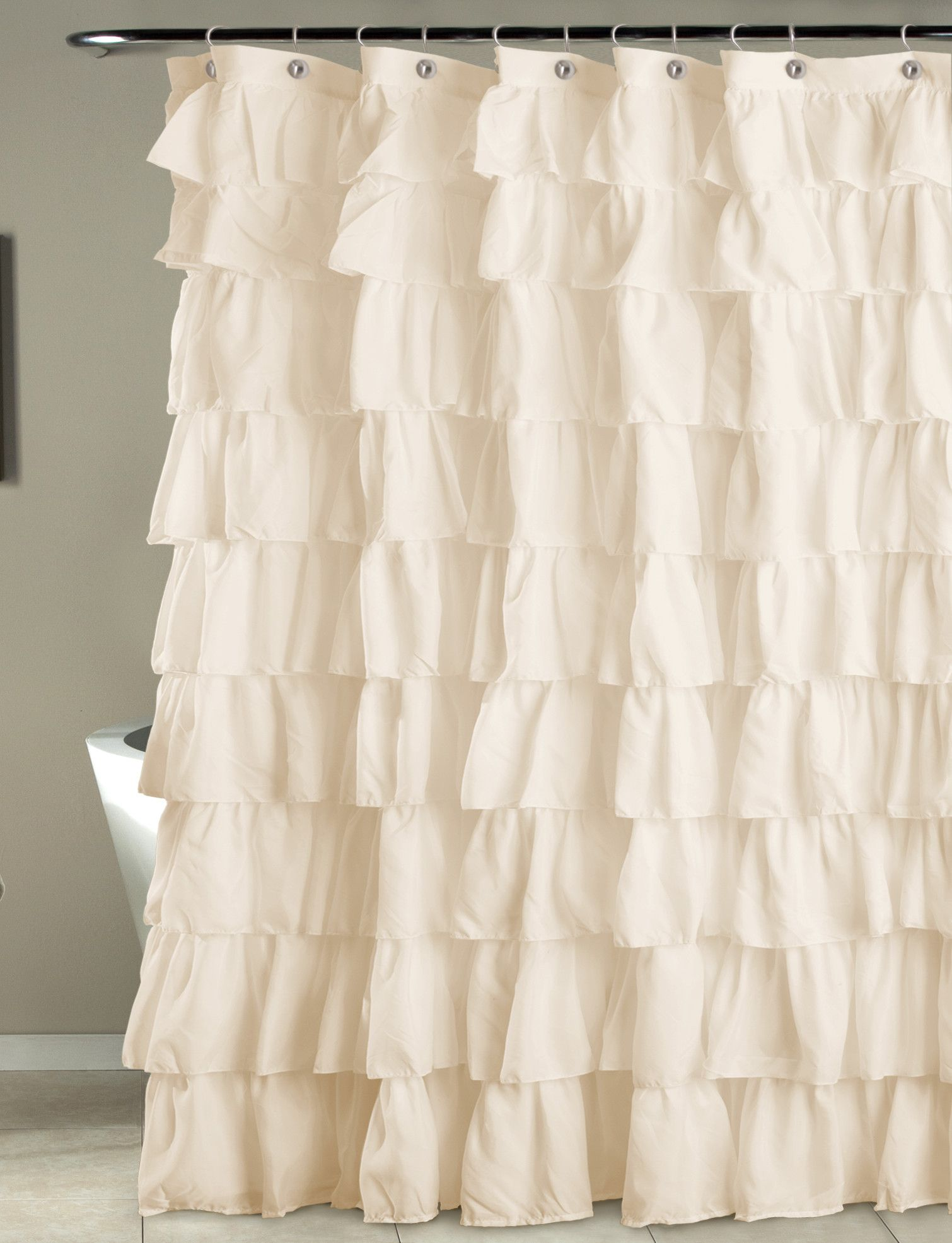 Features:  -Construction material: Polyester.  -Cleaning and care: Machine wash.  Product Type: -Shower curtain.  Material: -Polyester.  Pattern: -Solid.  Hooks Required: -Yes.  Gender: -Neutral. Dime