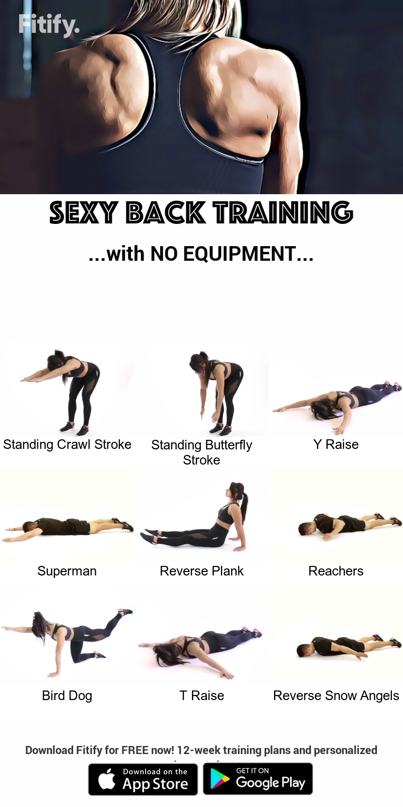 NO EQUIPMENT Stronger Back Routine Routine. . . . Intense workout to target your upper and lower bac...