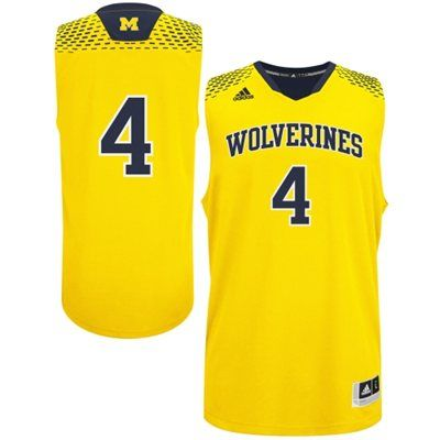 Adidas Michigan Wolverines 2014 March Madness 4 Basketball Jersey Maize Navy Blue Basketball Jersey Jersey Ncaa Basketball Jersey
