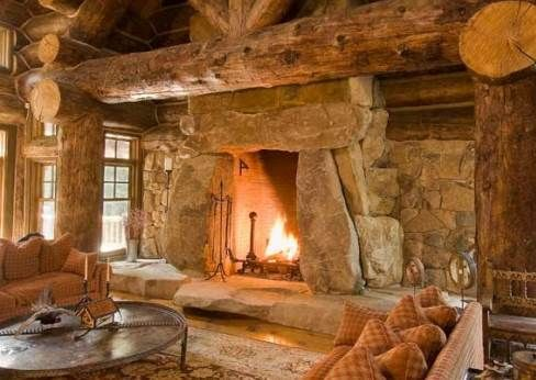 We 39 d love to warm up by this stone fireplace with some hot for Cabin fireplace pictures