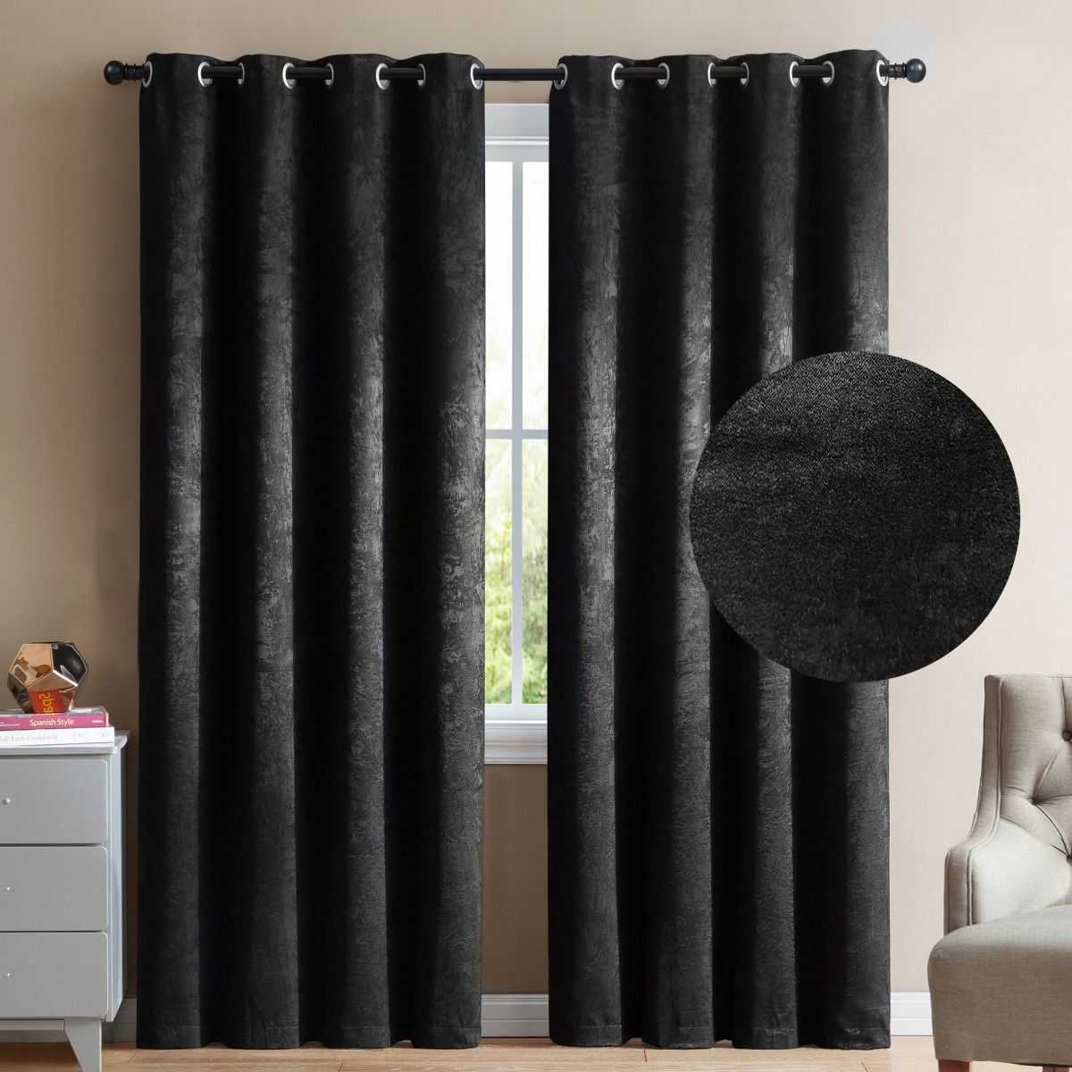 Vcny Marco 2 Blackout Window Curtains 96 Black Velour Velvet Grommet Panel Pair Drapes Window Treatments Home Ki Window Curtains Grommet Panels Curtains