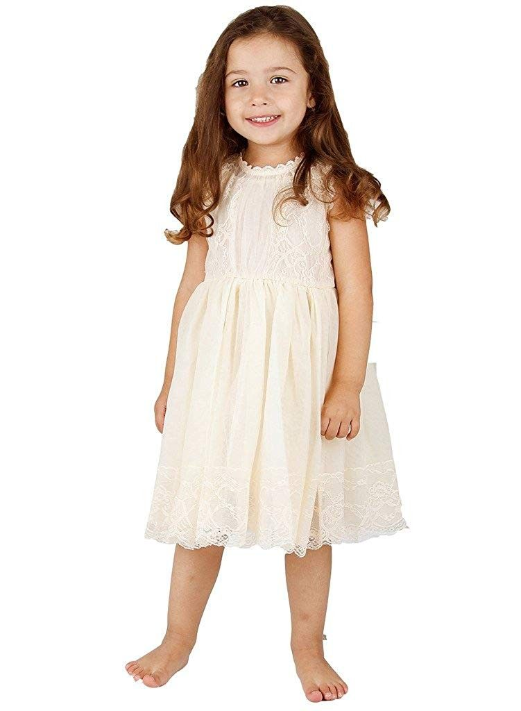 52a5e43a1c3 Ivory Off White Lace Vintage Flower Girl s Dress - Ivory - CB11P8CA76D -  Girls  Clothing
