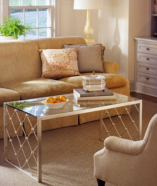 living room - room decor with wrought iron coffee table in antique