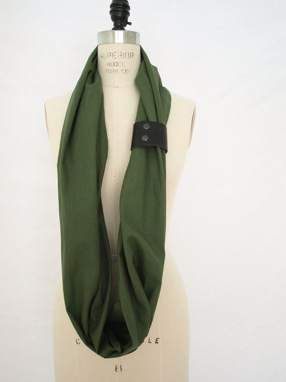 Olive Linen Infinity Scarf