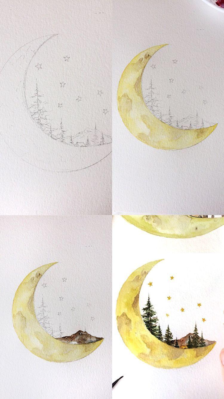 Epingle Par Sara Hobeika Sur Painting Lune A L Aquarelle