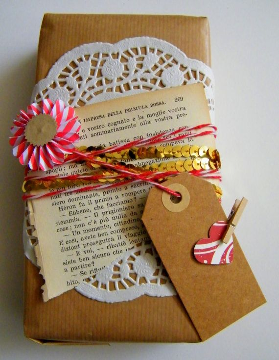 Doily kraft paper and a book page giftwrapinspired pinterest christmas gift wrap gifts handmade gifts it yourself gifts made gifts gifts solutioingenieria Choice Image